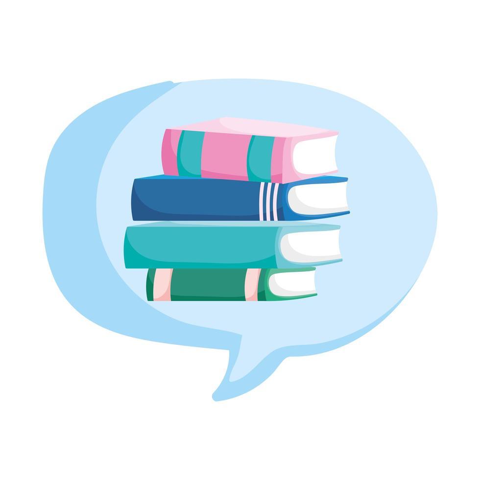 back to school education stacked books speech bubble cartoon vector