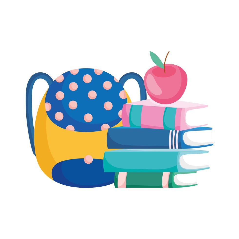 back to school stacked books apple and backpack cartoon vector