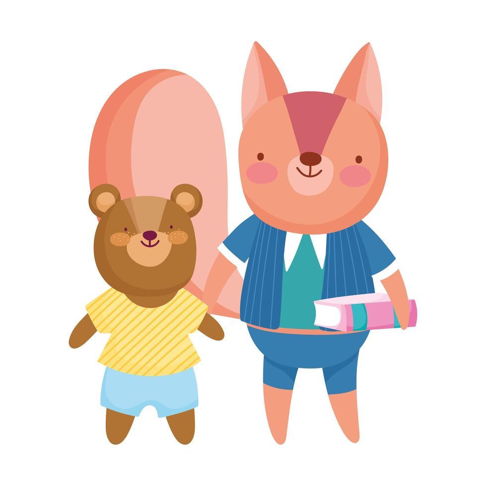 regreso a la escuela, oso y ardilla con dibujos animados de libro vector