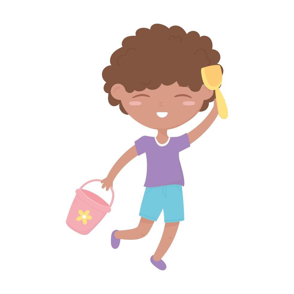 kids zone, cute little boy with bucket shovel toys vector