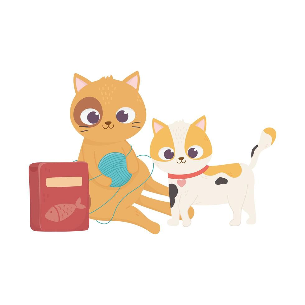 cats make me happy, cute cats playing ball of wool and food cartoon vector