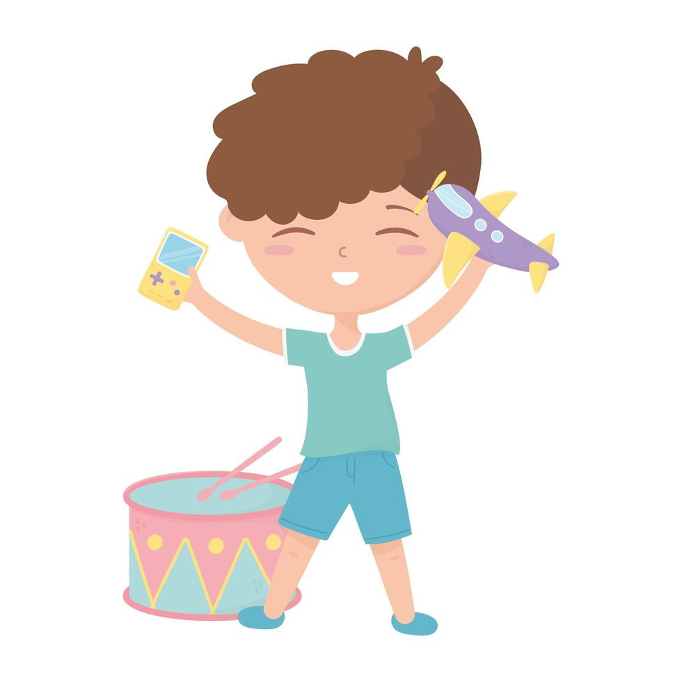 kids zone, cute little boy with video game drum and plane toys vector