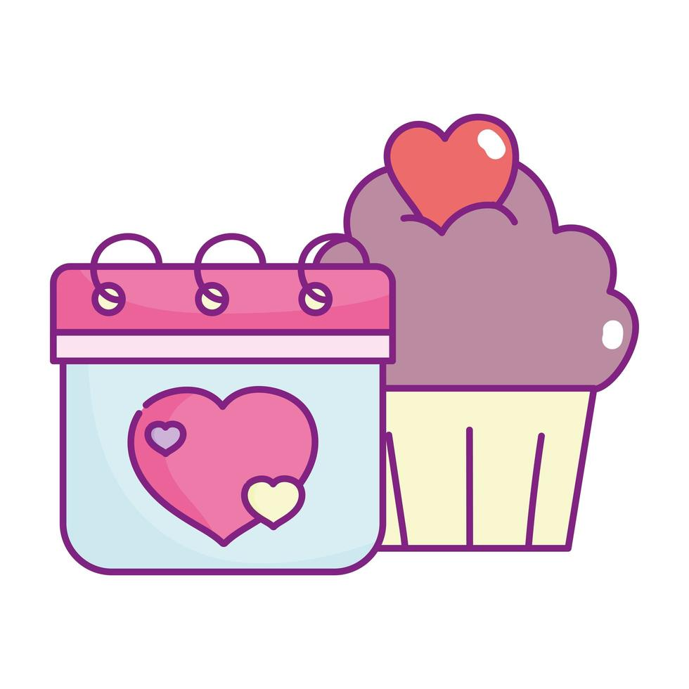 happy valentines day, calendar and sweet cupcake hearts cloud vector