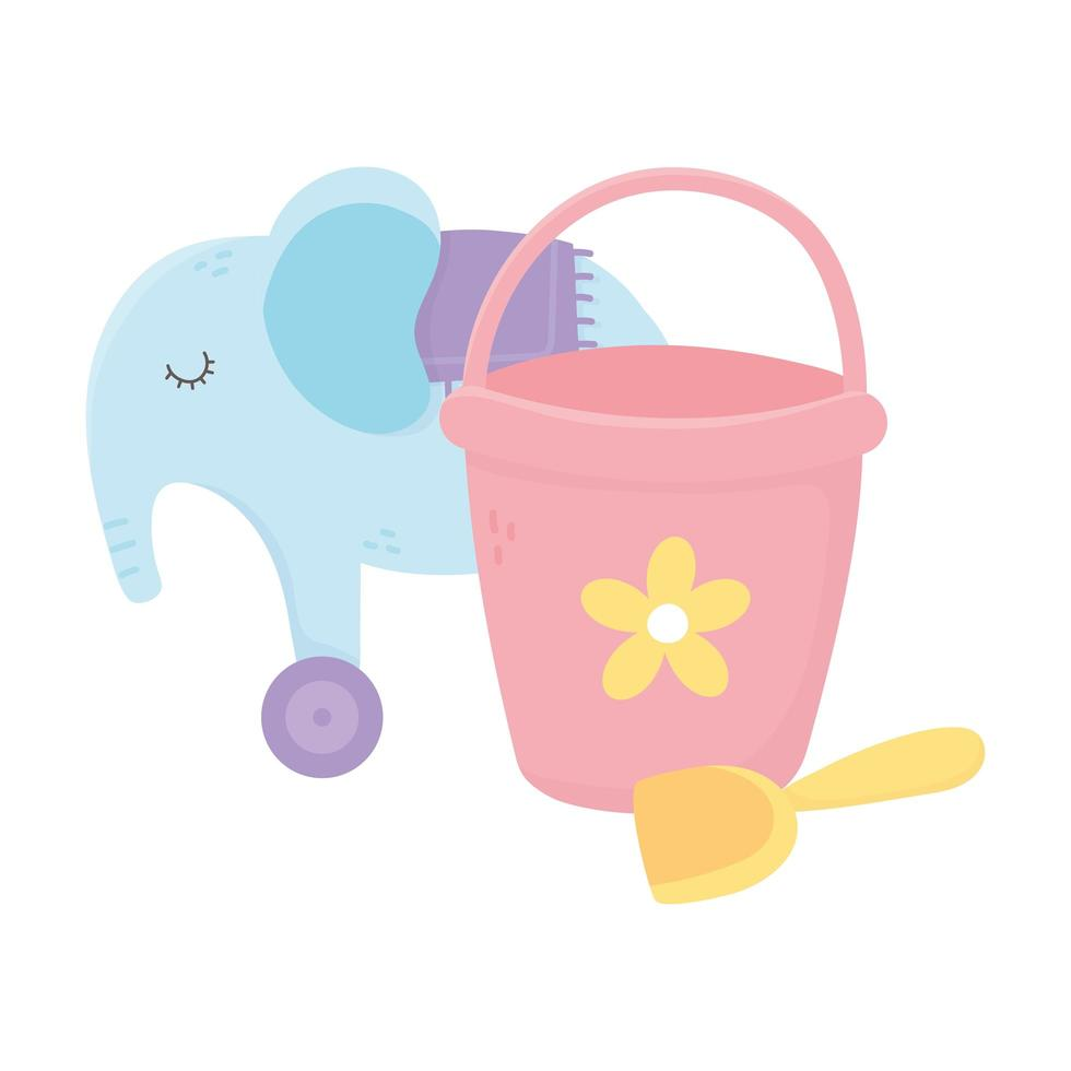 kids zone, bucket shovel and elephant with wheels toys vector