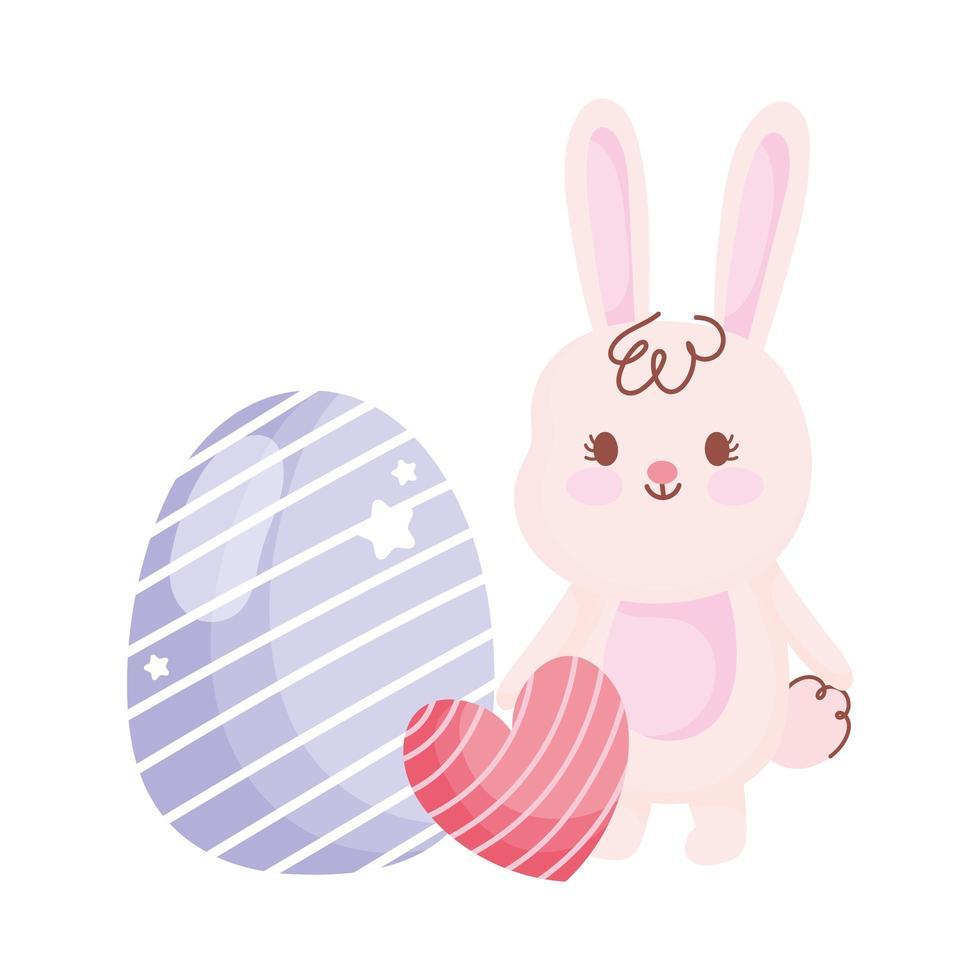 feliz pascua conejo blanco con corazón y decoración de huevo vector