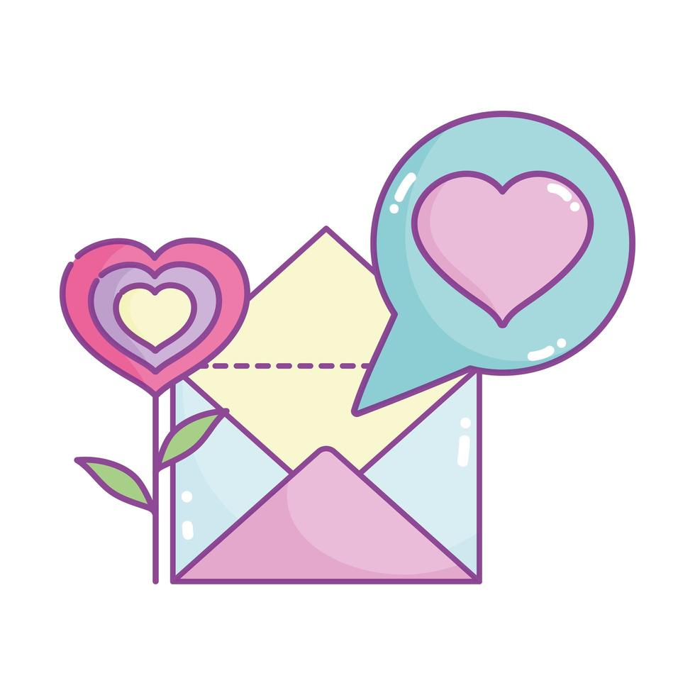 happy valentines day, flower shape heart mail letter message vector
