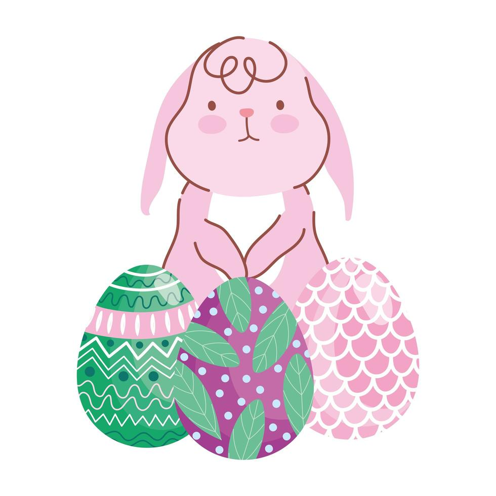 happy easter little bunny with decorative eggs painting nature leaves vector