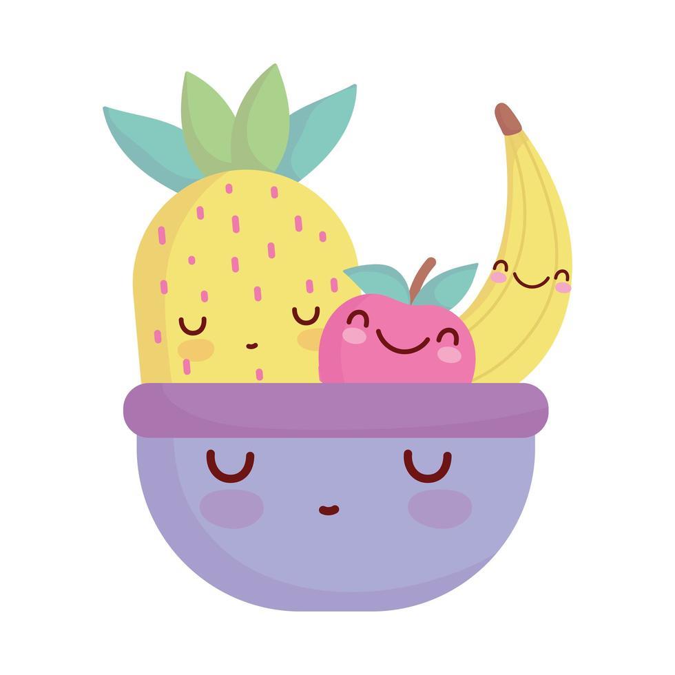 fruits in bowl menu character cartoon food cute vector