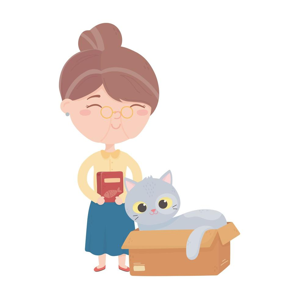 cats make me happy, old woman with food and cat in box vector