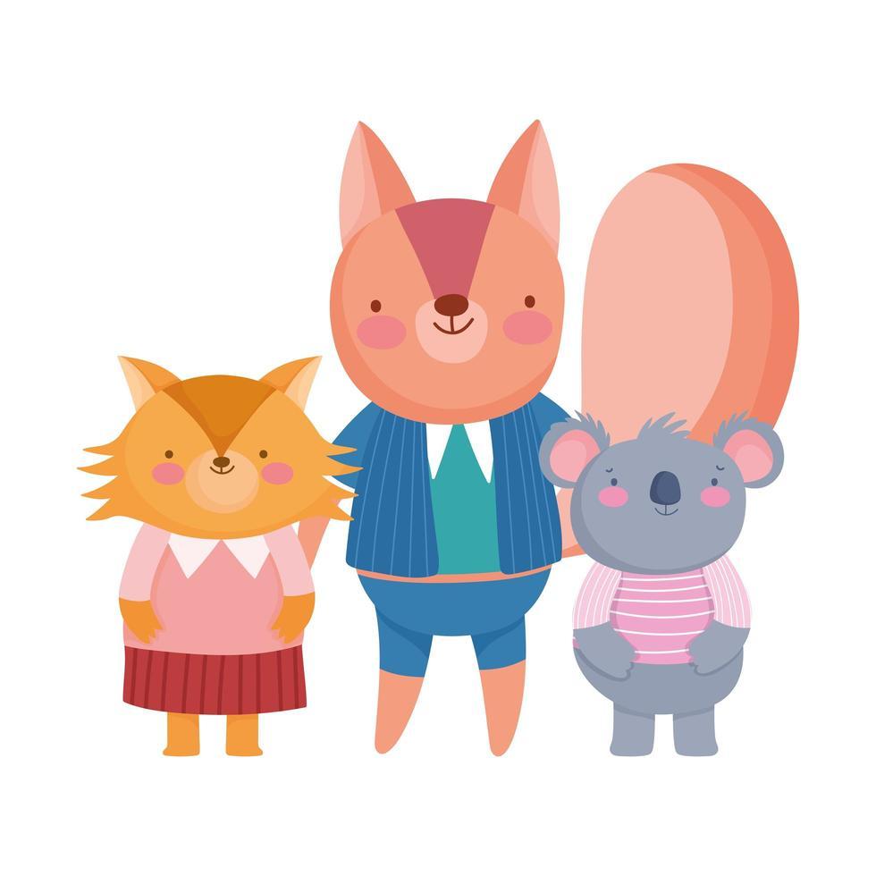cute squirrel fox and koala animal cartoon character vector