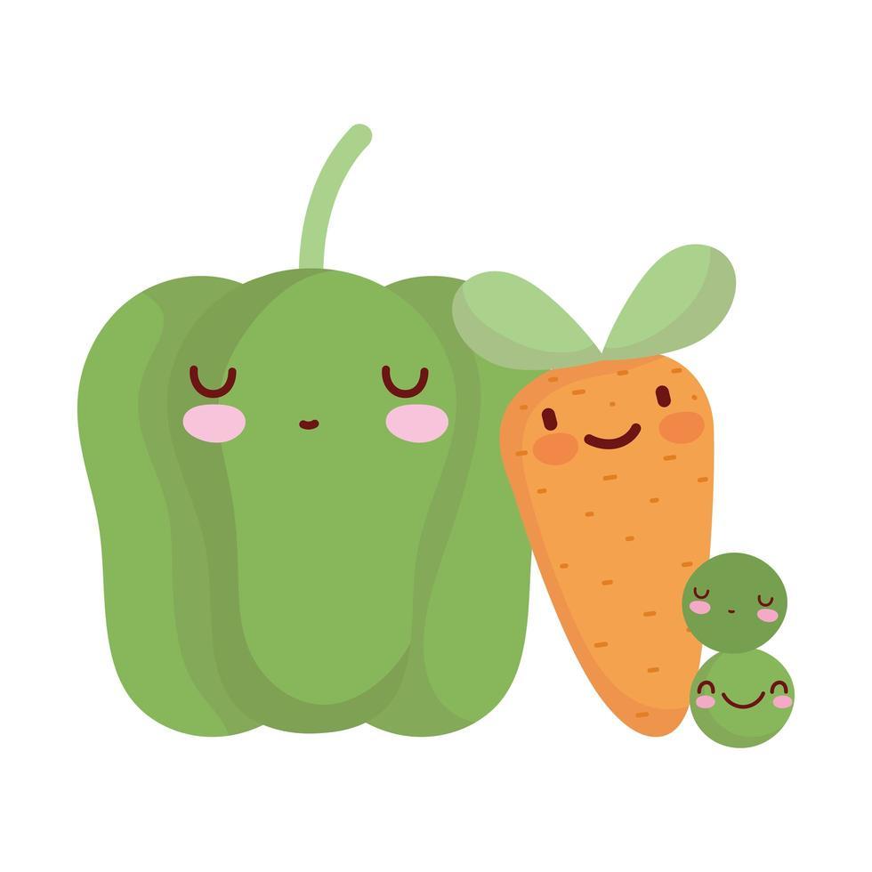 pimienta, zanahoria y guisantes, menú, carácter, caricatura, comida vector