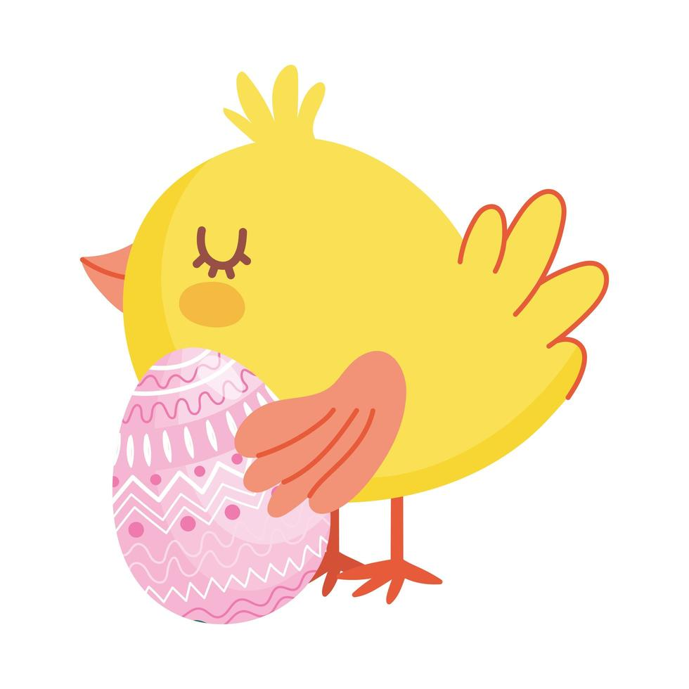 happy easter, cute chicken with pink egg geometric decoration vector