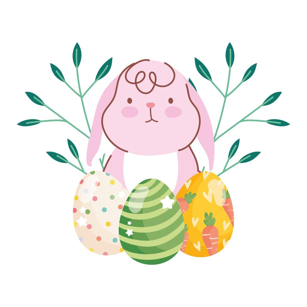 happy easter cute rabbit eggs branches foliage nature celebration vector