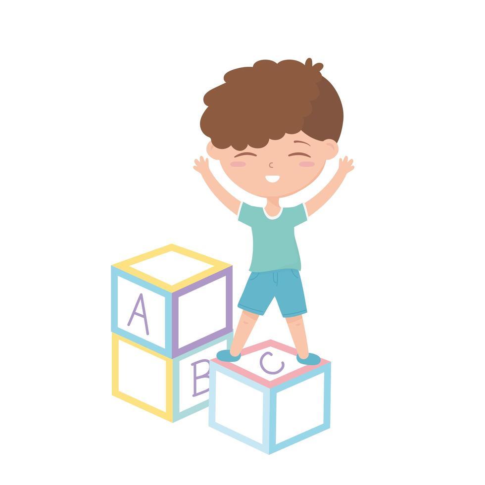 zona de niños, niño lindo en juguetes de bloques de letras vector