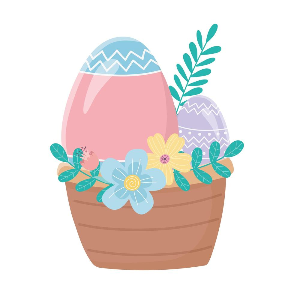 happy easter day, basket with eggs flowers leaves foliage decoration vector