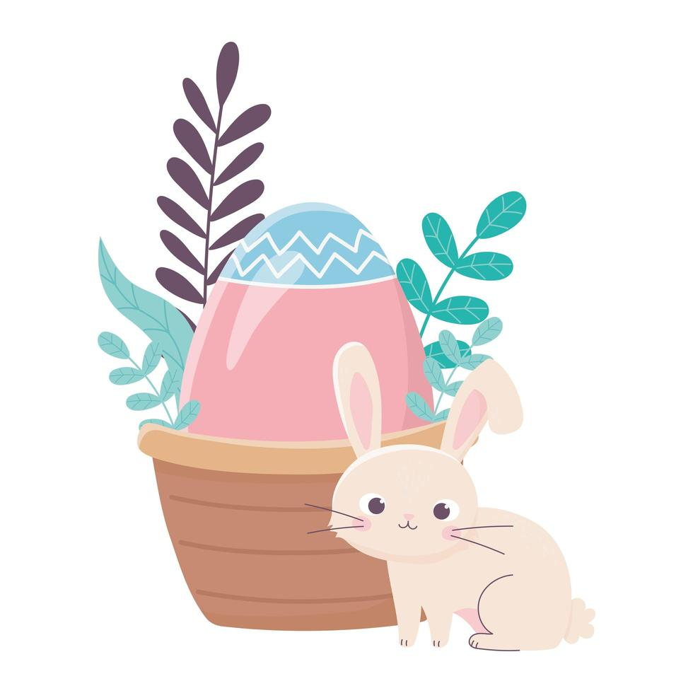 happy easter day, rabbit with basket egg foliage leaves vector
