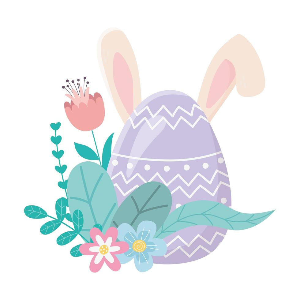 happy easter day, cute egg with ears flowers foliage decoration vector