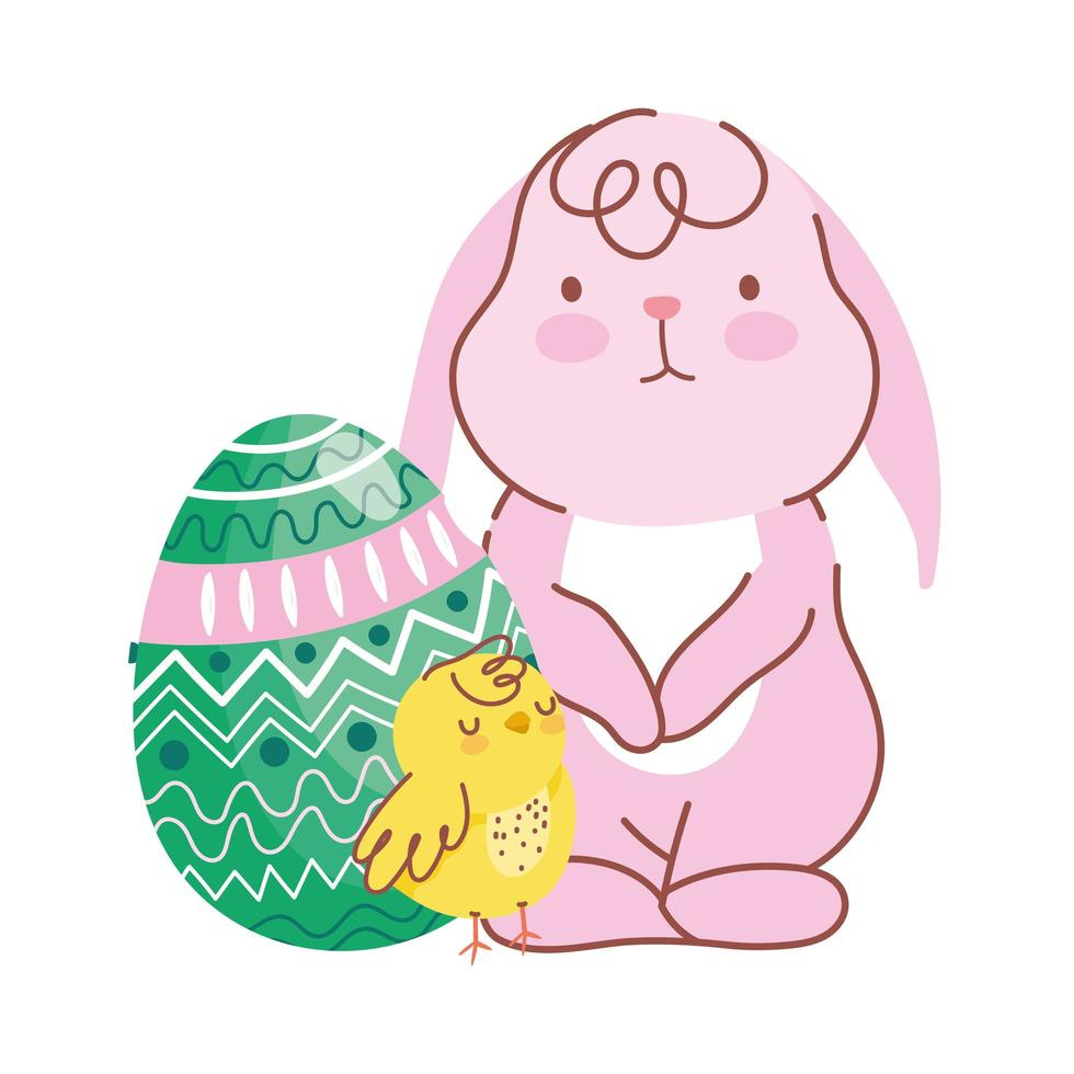 feliz pascua lindo conejo pollo huevo verde decoracion vector