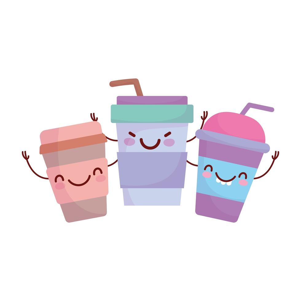 disposable paper cups coffee menu character cartoon food cute vector