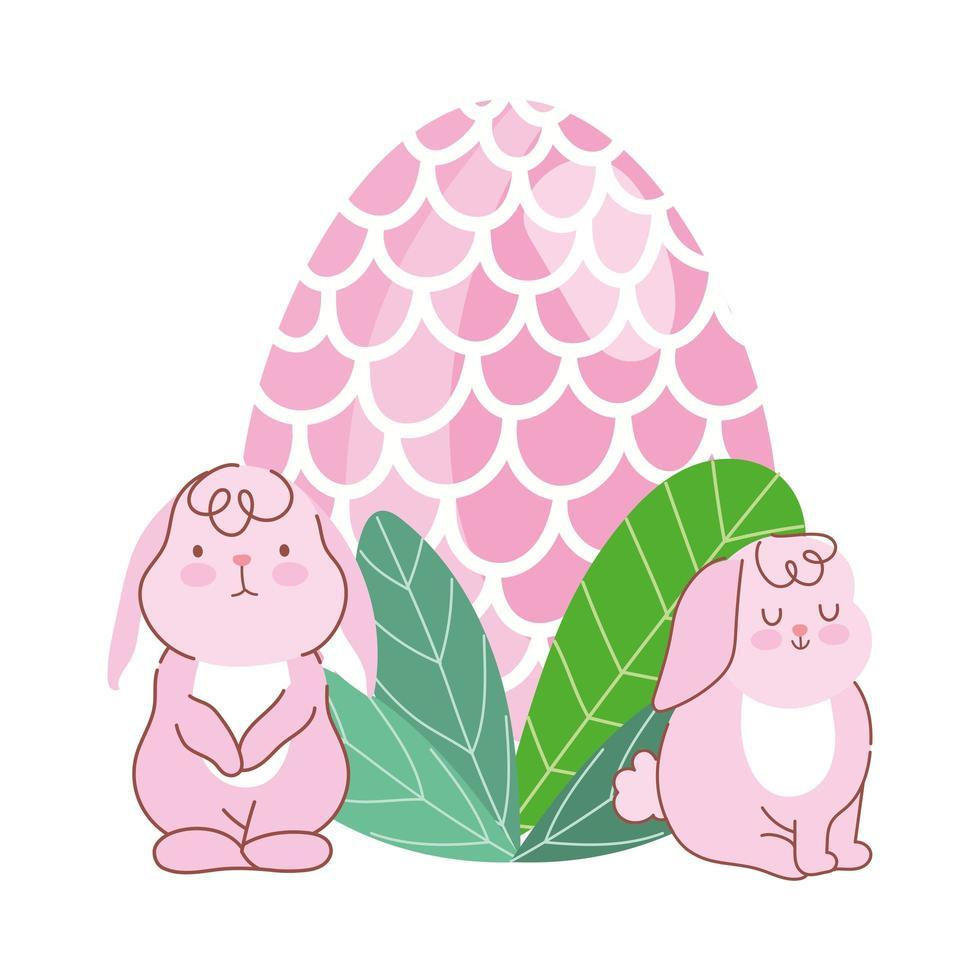 Felices pascuas lindos conejos rosados con decoración de follaje de huevo vector