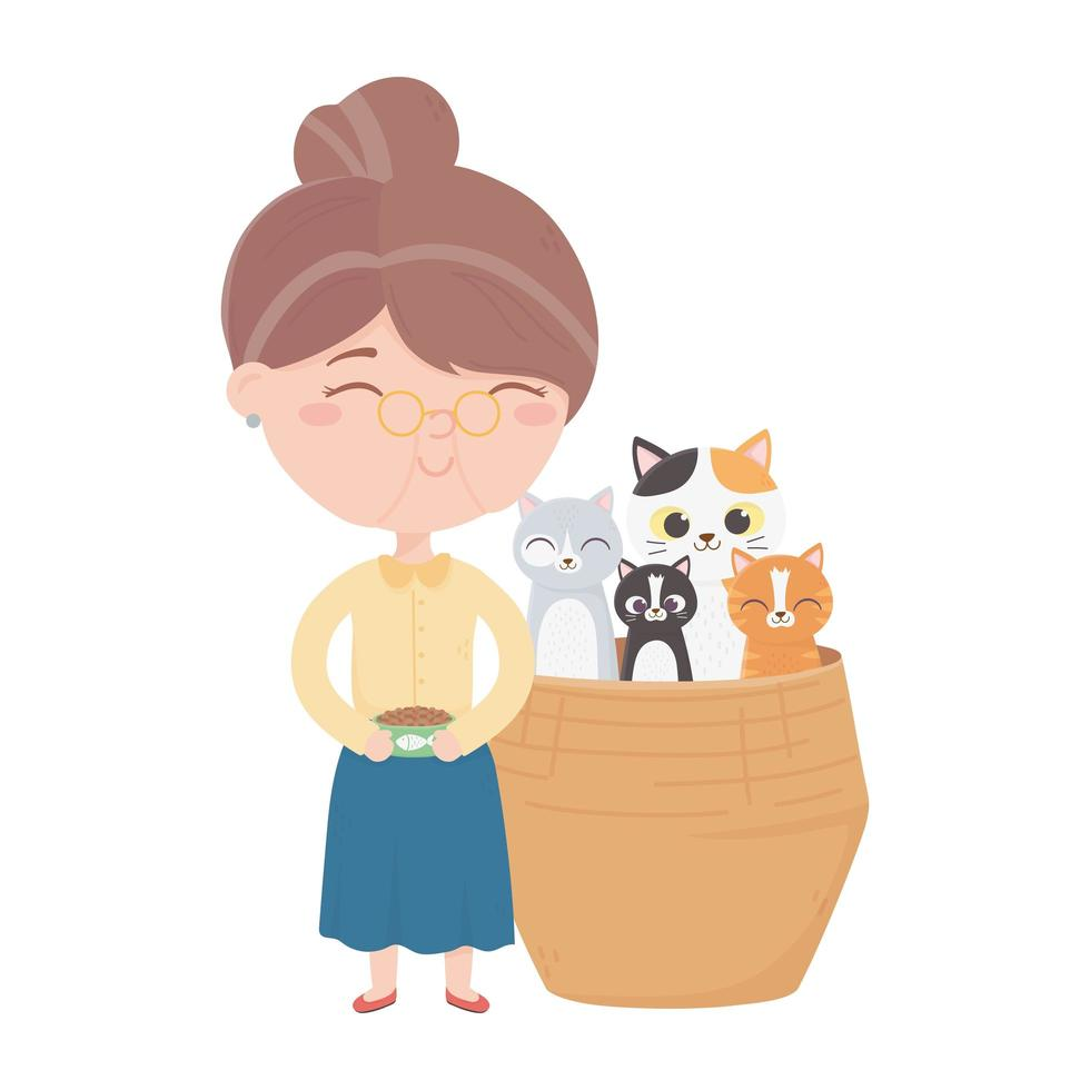 cats make me happy, woman with food bowl and cats in wicker basket vector