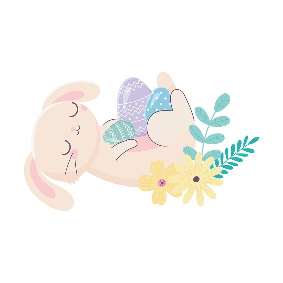 happy easter day, rabbit resting with eggs flowers foliage cartoon vector