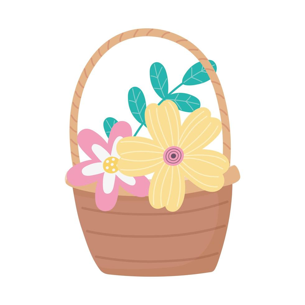 happy easter day, flowers foliage leaves in basket decoration vector