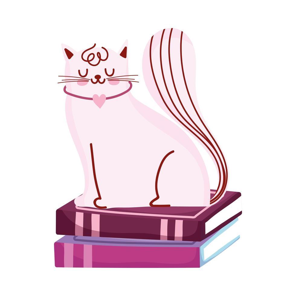 gato en la pila de libros, día del libro vector