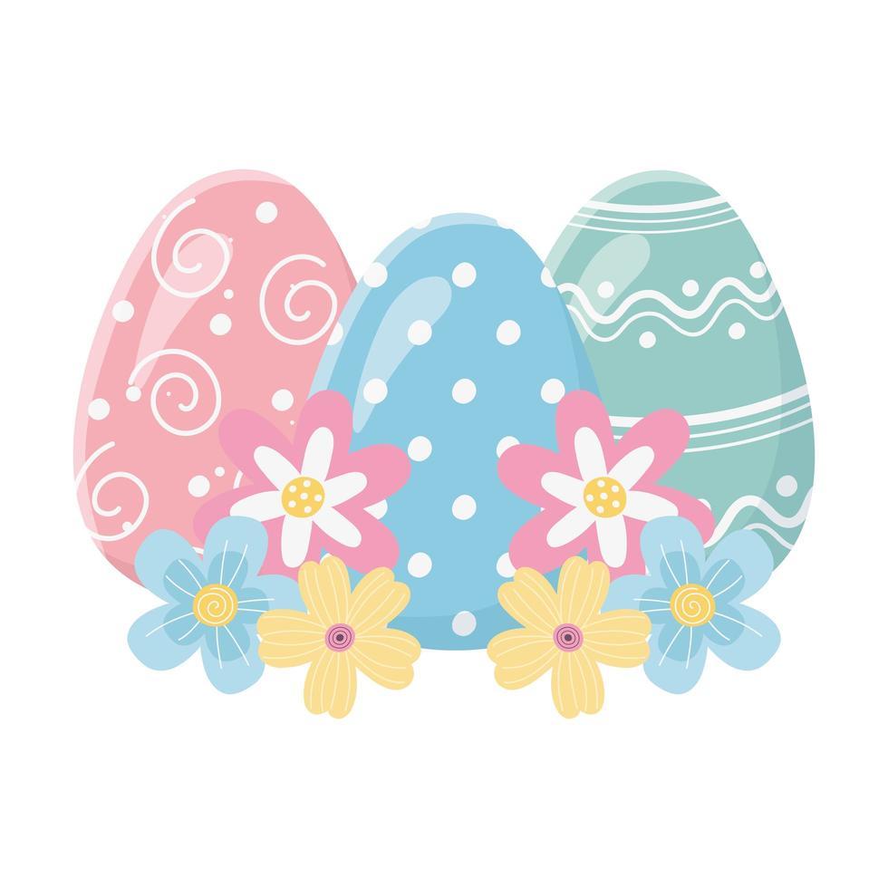 feliz día de pascua decorativos huevos pintados flores adorno vector