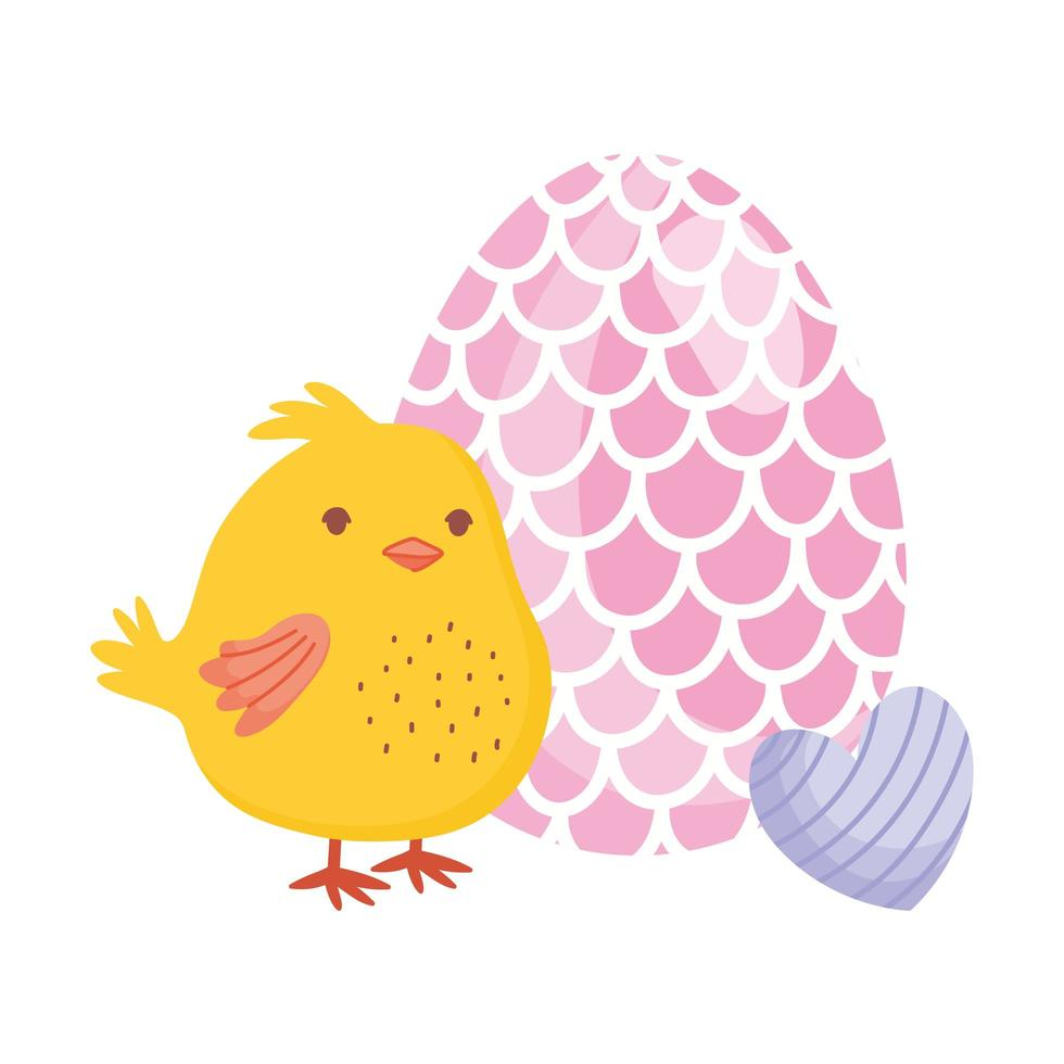 happy easter chicken with egg and heart decoration vector