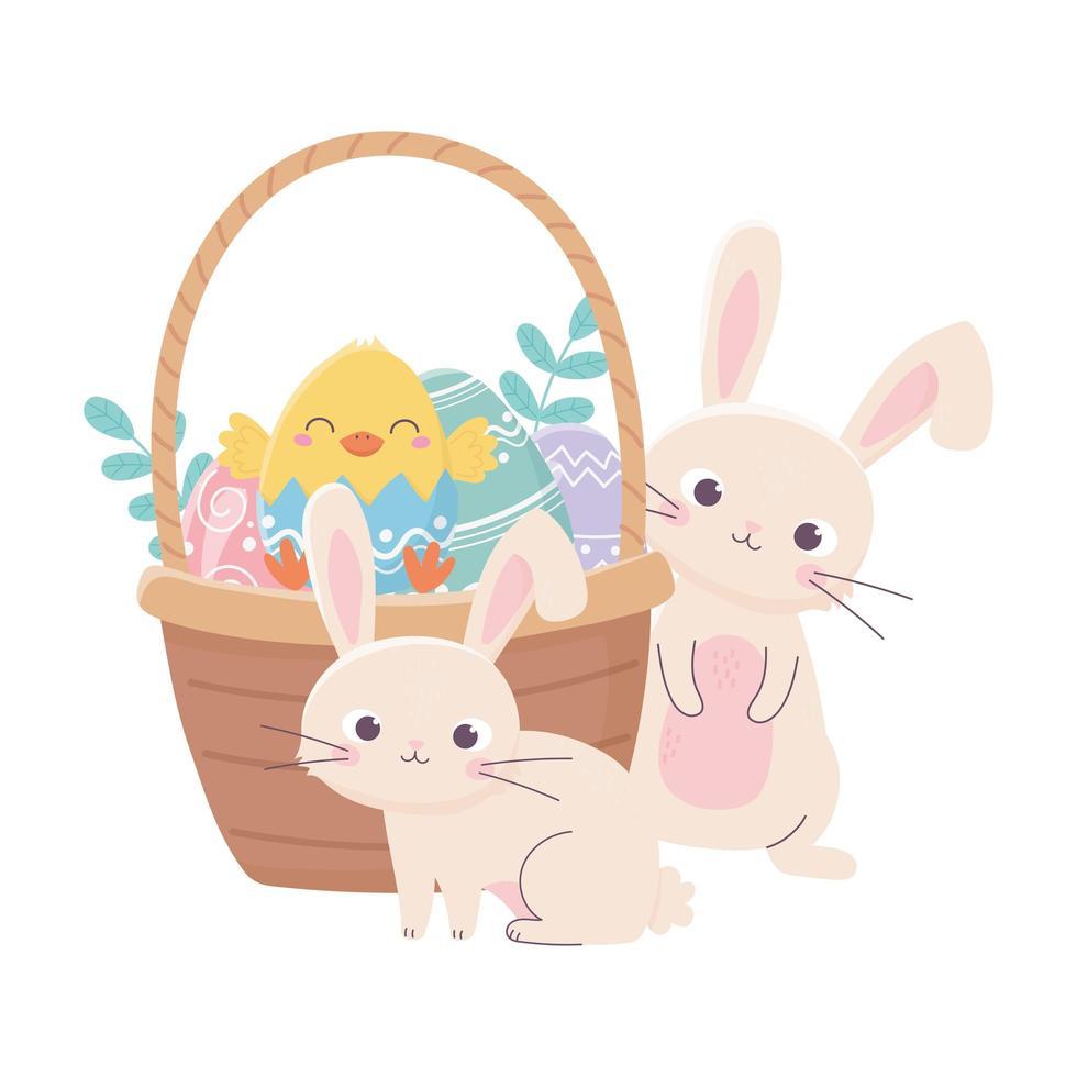 Felices pascuas conejos pollo en canasta con huevos en el césped vector