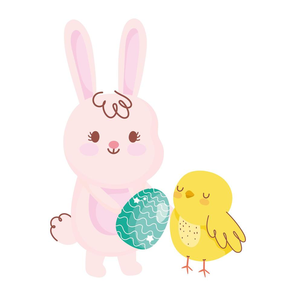 happy easter rabbit with egg chicken rainbow field flowers vector