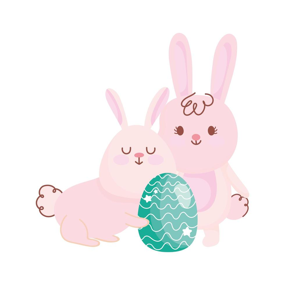 happy easter bunnies with green egg decoration cartoon vector