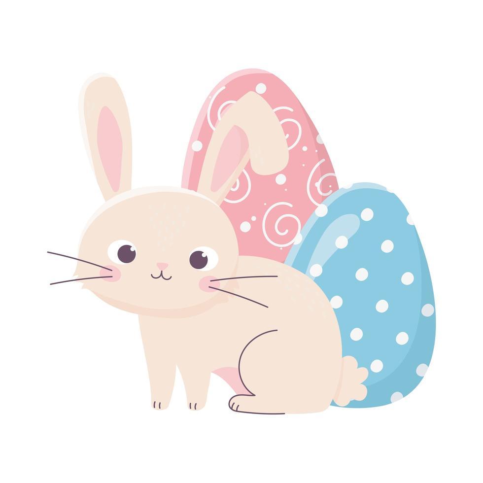 Feliz Pascua lindo conejo con celebración de decoración de dos huevos vector
