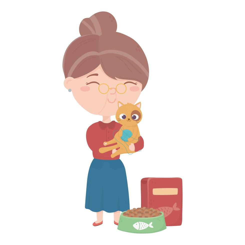 cats make me happy, old woman carrying cat with ball food vector