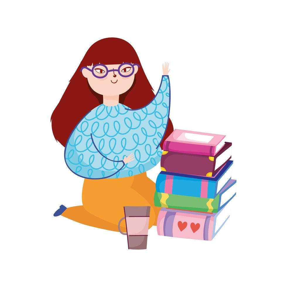 mujer joven de rodillas con libros y taza de café, día del libro vector