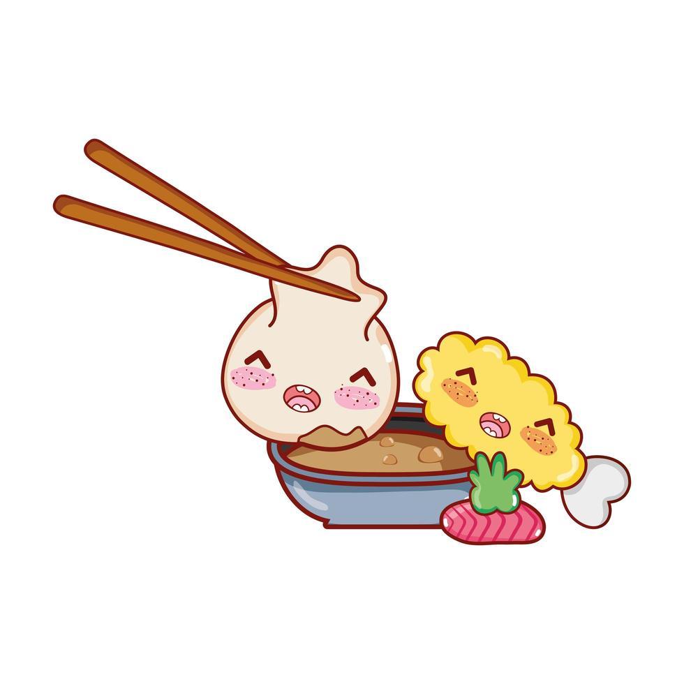 kawaii bola de masa hervida en palitos salsa tempura comida wasabi dibujos animados japoneses, sushi y rollos vector