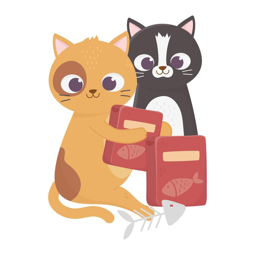 cats make me happy, cute felines with food boxes and fishbone vector