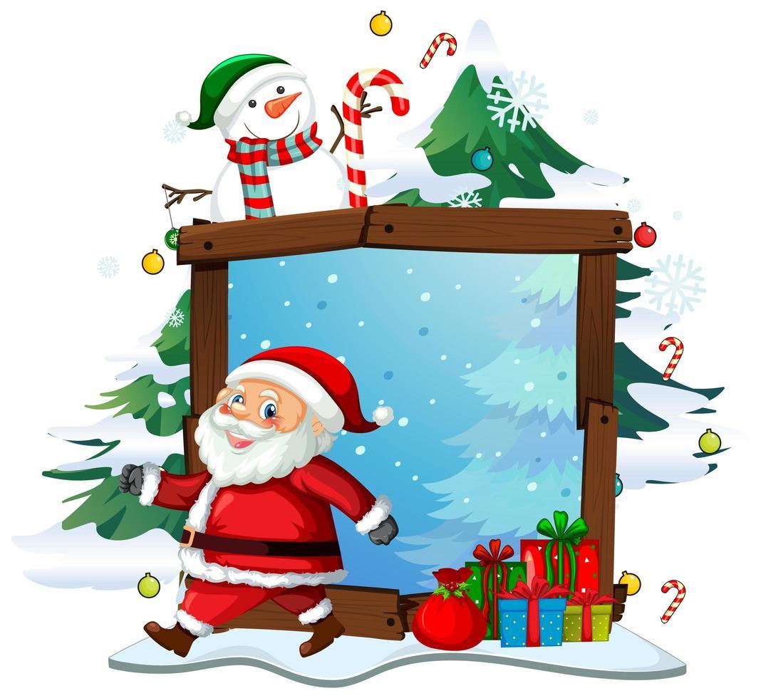 Marco de madera en blanco con santa claus en tema navideño sobre fondo blanco. vector