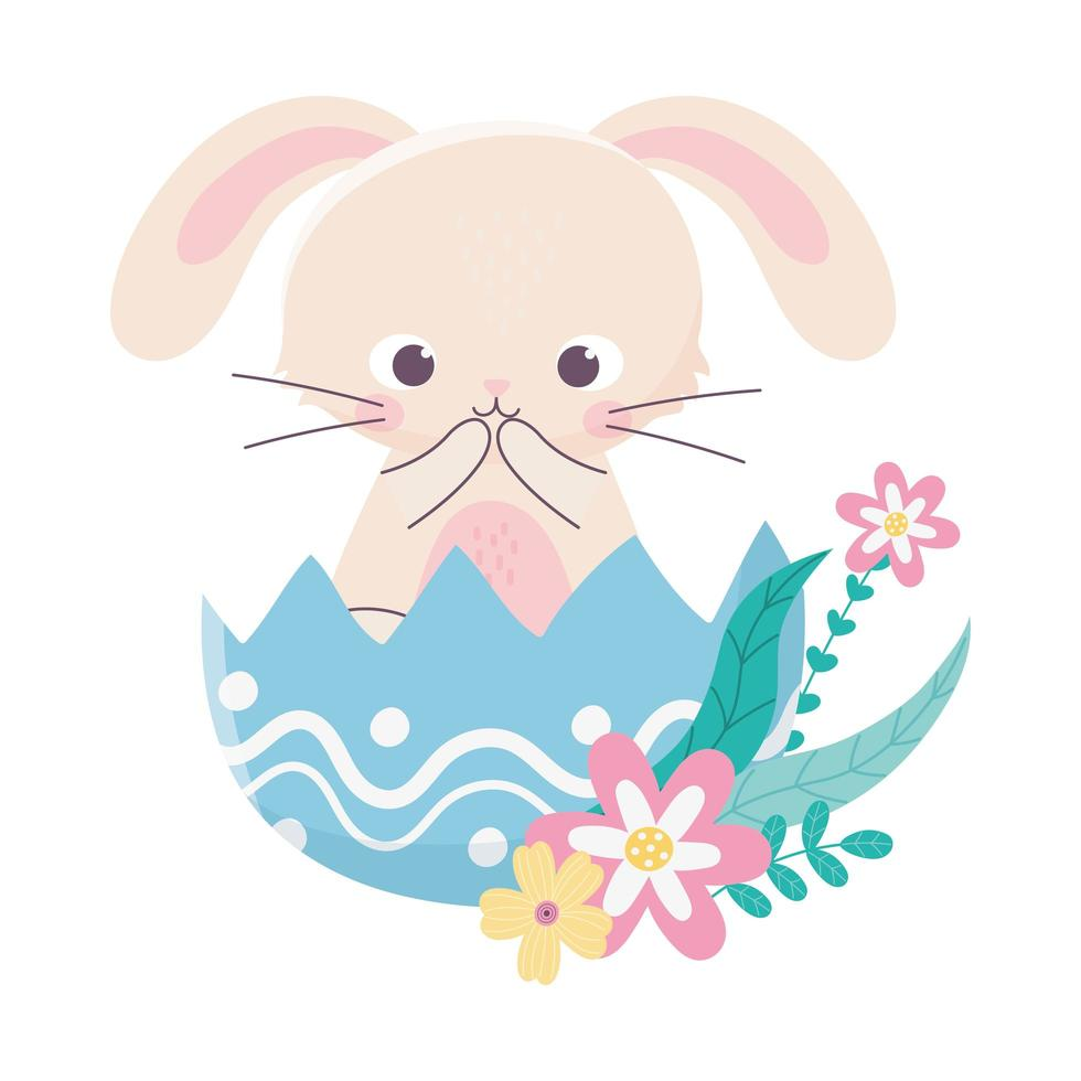 happy easter day, cute rabbit in eggshell flowers decoration vector
