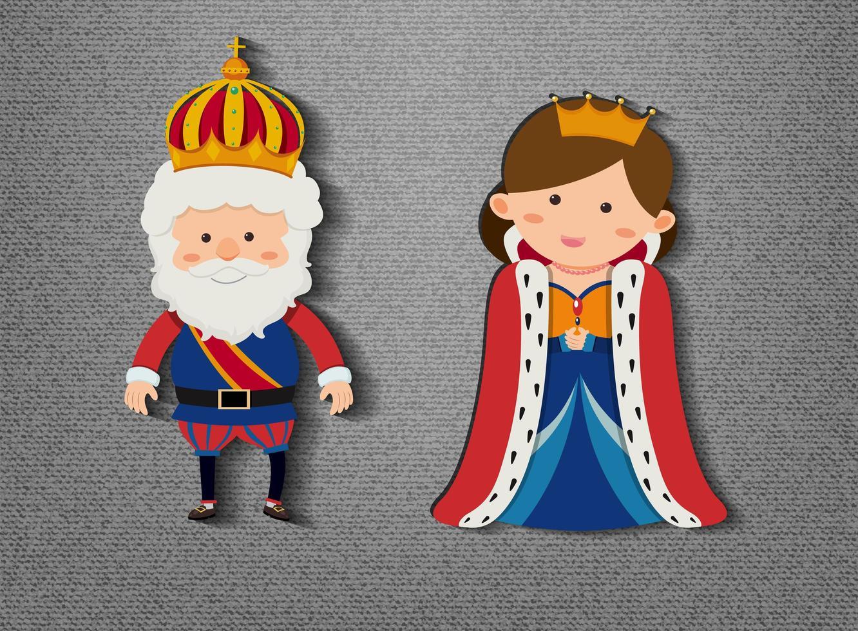 rey y reina personaje de dibujos animados sobre fondo gris vector