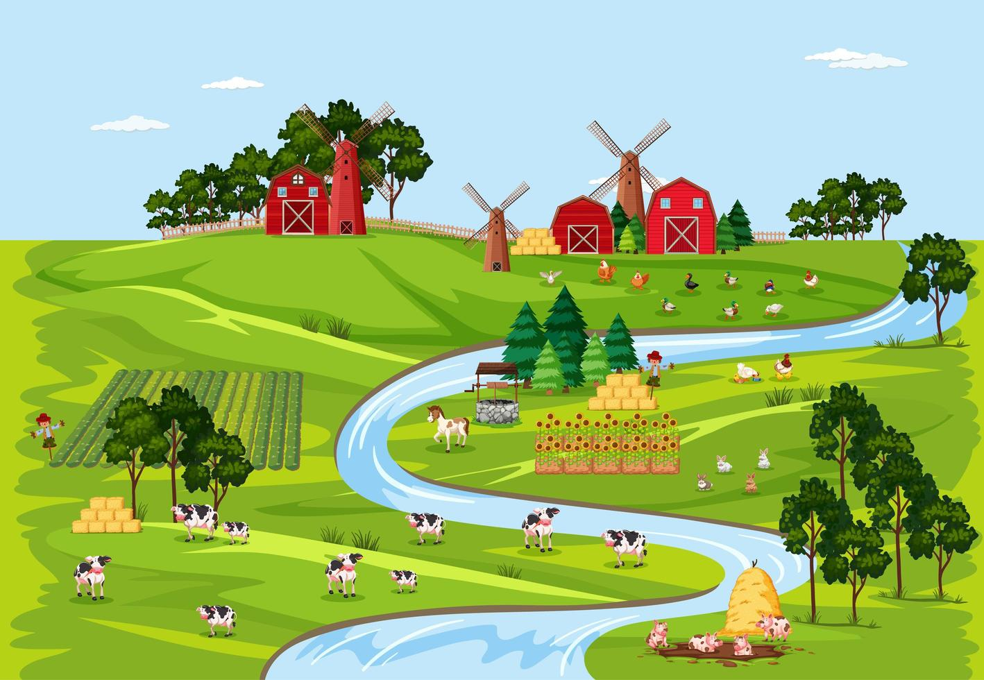 Farm nature with barns landscape scene vector