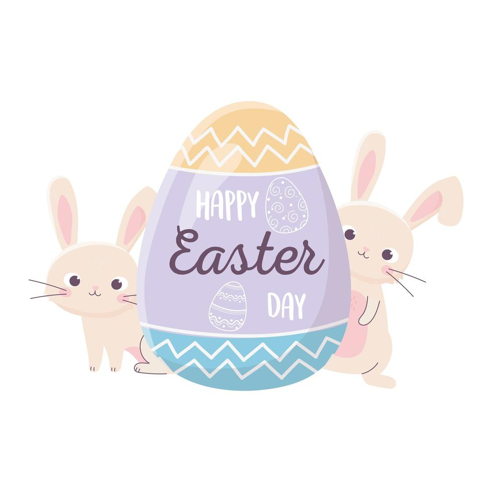 happy easter rabbits with lettering in egg decoration vector