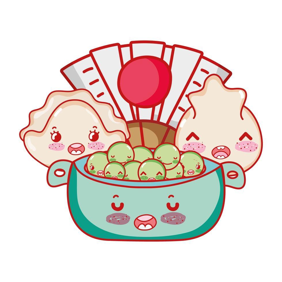 kawaii dumplings peas in bowl and fan food j japanese cartoon, sushi and rolls vector