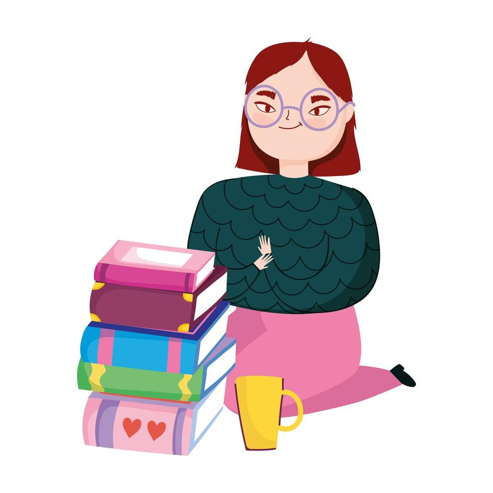 young woman on the knees with books and coffee cup, book day vector