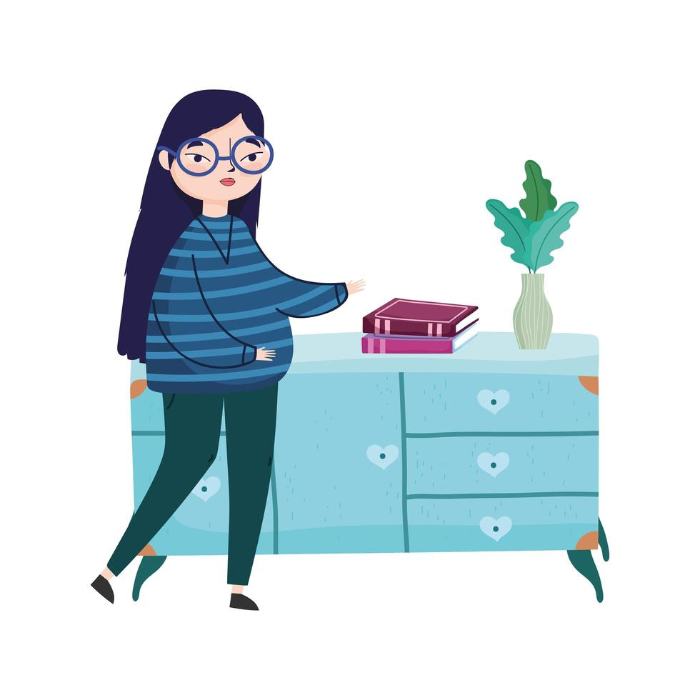 young woman books in furniture potted plant, book day vector