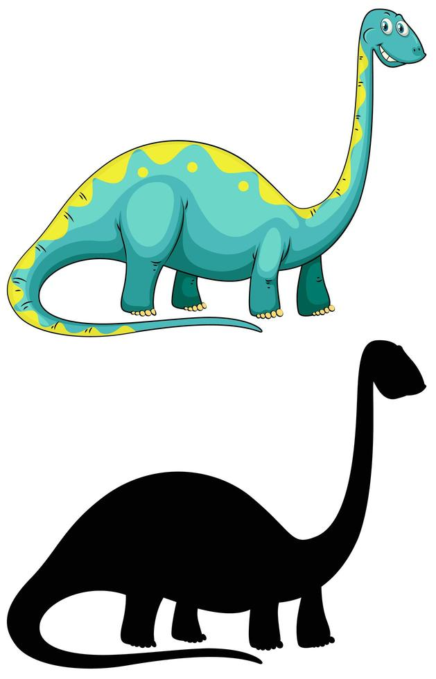Set of dinosaur cartoon character and its silhouette on white background vector