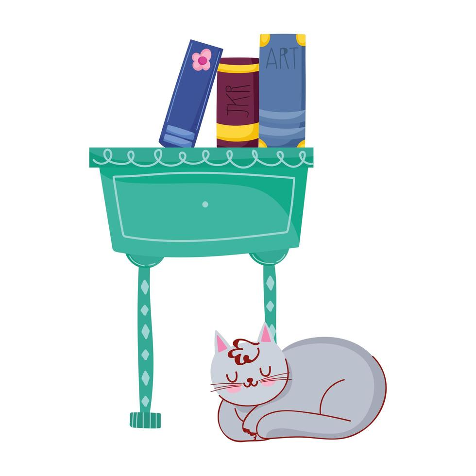 libros de gato en decoración de cajones de muebles, día del libro vector