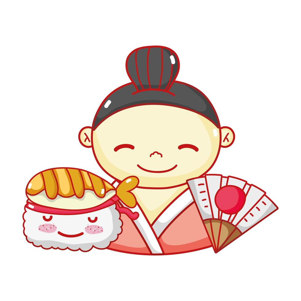geisha suhsi kawaii food japanese fan cartoon, sushi and rolls vector