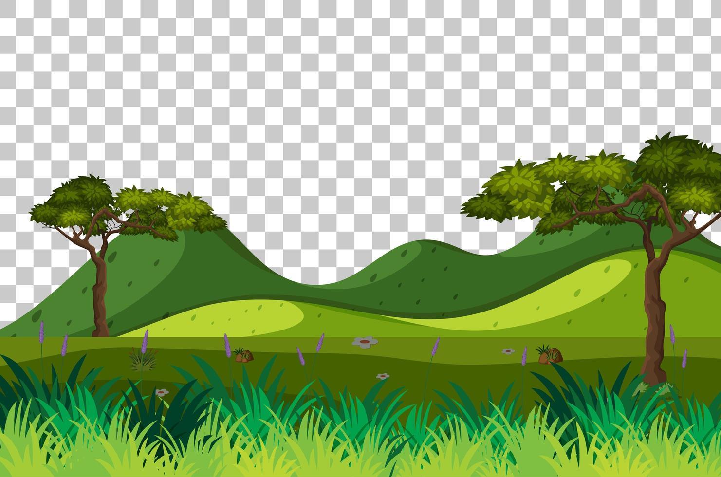 Blank nature park scene landscape on transparent background vector